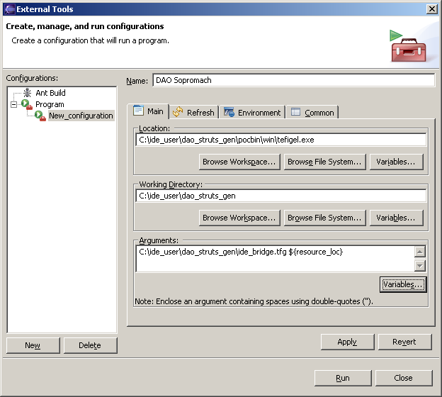 "Figure 9 - Eclipse's external tools: tab ""Main"""