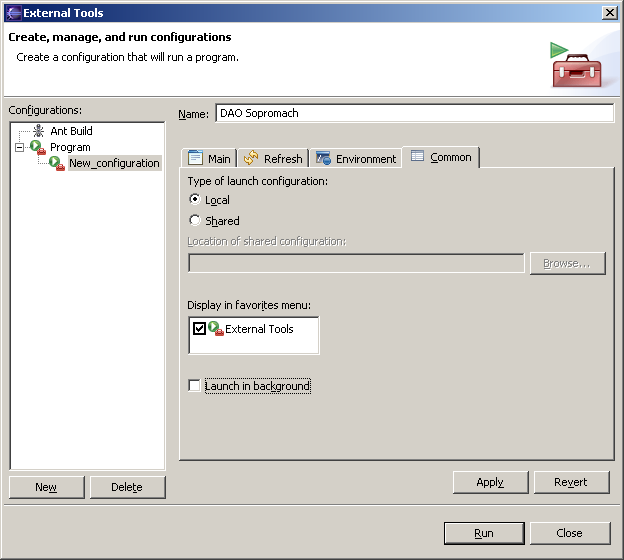 "Figure 11 - Eclipse's external tools: tab ""Common"""