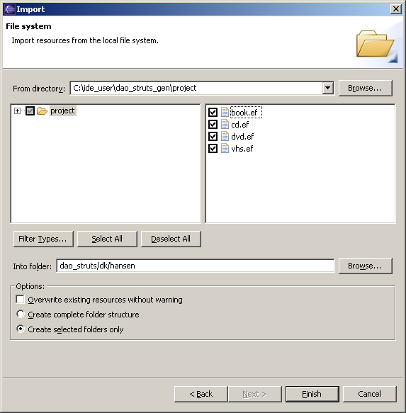 "Figure 12 - Importing the four "".ef"" files"